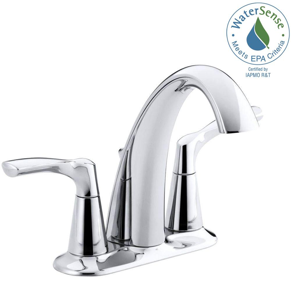 KOHLER Mistos 4 in. Centerset 2-Handle Water-Saving Bathroom ...