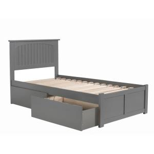 Nantucket Twin XL Platform Bed with Flat Panel Foot Board and 2 Urban Bed Drawers in Grey