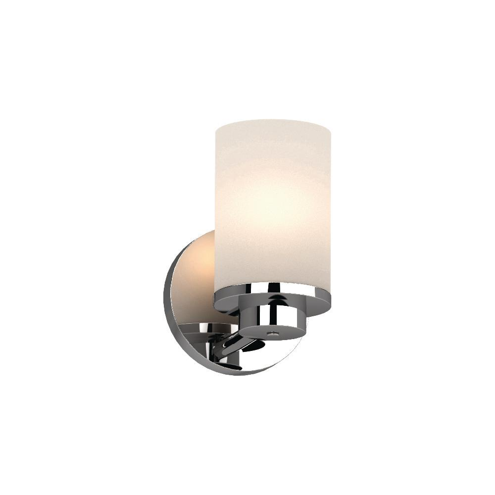 Volume Lighting Sharyn 1 Light 5 In Chrome Indoor Bathroom Vanity Wall Sconce Or Mount With Frosted Gl Cylinder Shades