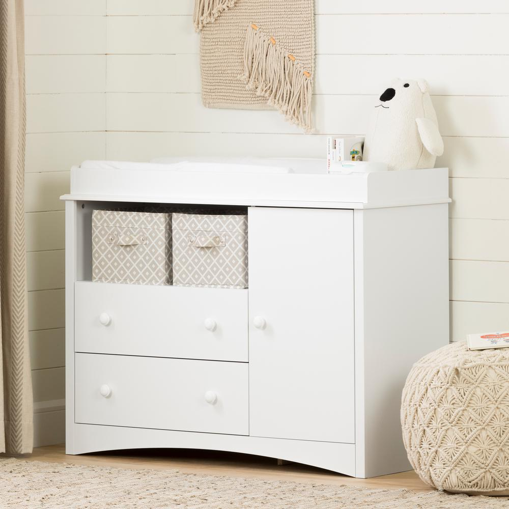 South Shore Peek A Boo 2 Drawer Pure White Changing Table