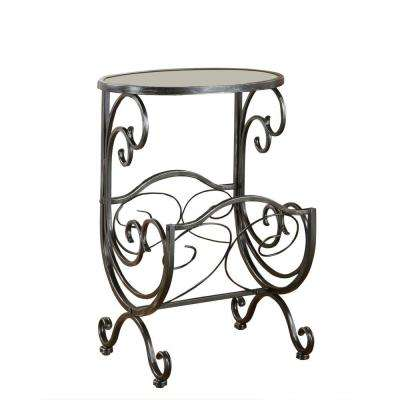 Orland Gunmetal Glass Top End Table