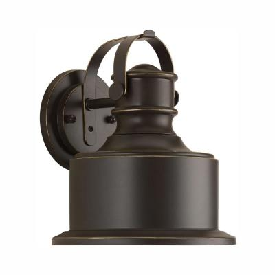 Callahan Collection 1-Light Antique Bronze 10 in. Outdoor Integrated LED Wall Lantern Sconce
