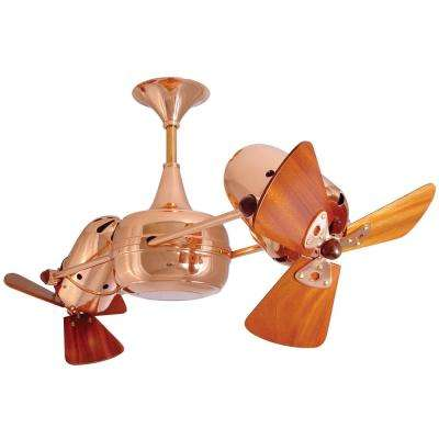 Duplo-Dinamico 36 in. Indoor/Outdoor Polished Copper Ceiling Fan with Wall Control