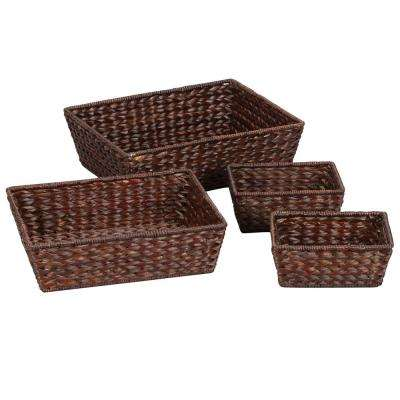 5 in. x 16.5 in. Water Hyacinth Wicker Storage Baskets in Brown (Set of 4 Stained 1/L-1/M and 2S)