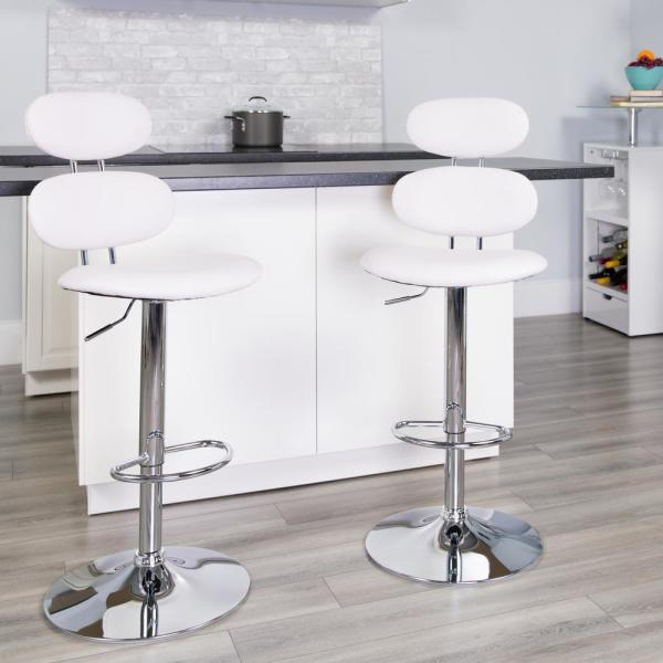 Flash Furniture 32 in. Adjustable Height White Cushioned Bar Stool CH112280WH