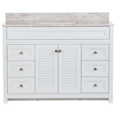 Bayridge 49 in. W x 22 in. D Bath Vanity in White with Stone Effects Vanity Top in Winter Mist with White Sink