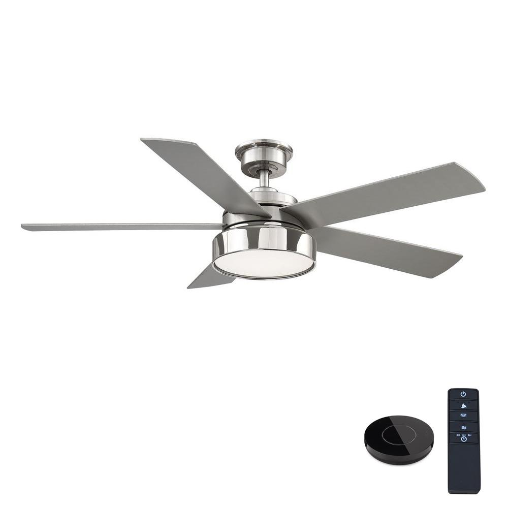 Home Decorators Collection Cherwell 52 in. LED Brushed Nickel Ceiling Fan with Light and Remote Control works with Google and Alexa