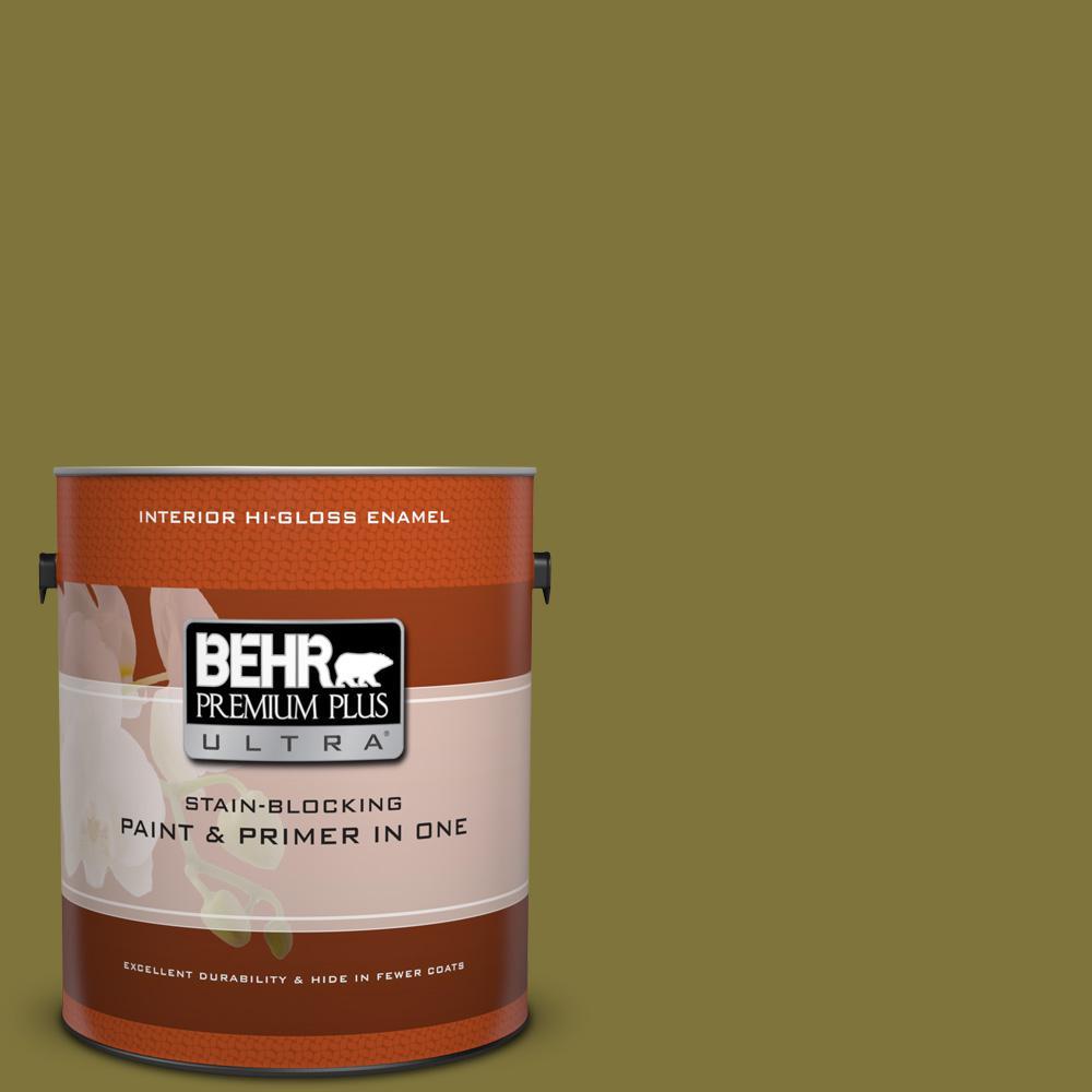 1 gal. #390D-7 Marsh Grass Hi-Gloss Enamel Interior Paint