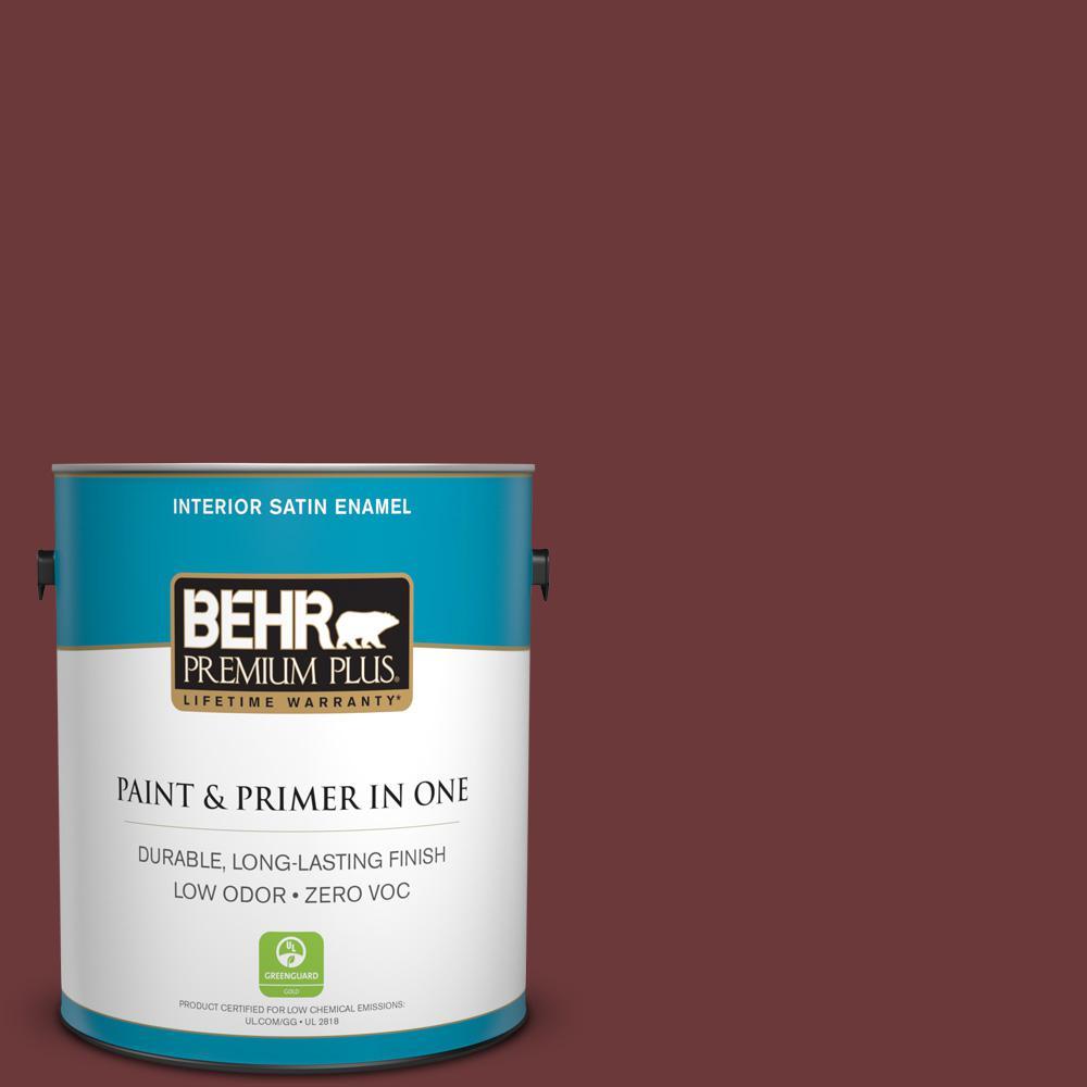 BEHR Premium Plus 1-gal. #S-G-710 Hawaiian Cinder Zero VOC Satin Enamel Interior Paint