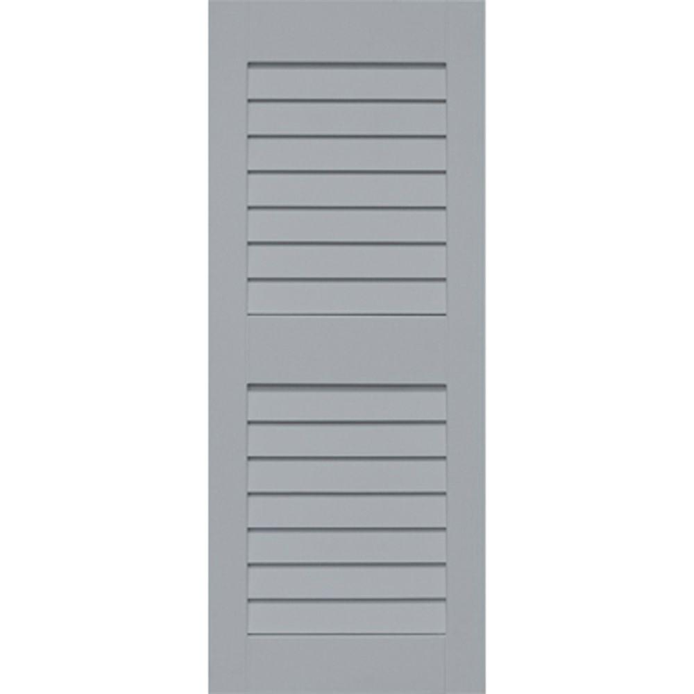 Home Fashion Technologies Plantation 14 in. x 47 in. Solid Wood Louvered Shutters Pair Behr Iron Wood