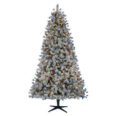 7.5 ft. Pre-Lit LED Lexington Quick Set Artificial Christmas Tree with Warm White Lights and Pinecones