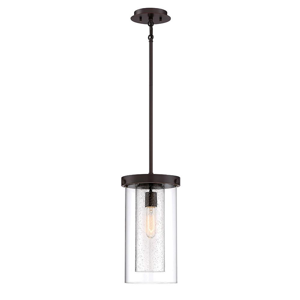 Home Decorators Collection 1-Light Royal Bronze Mini Pendant with Dual Glass Shades
