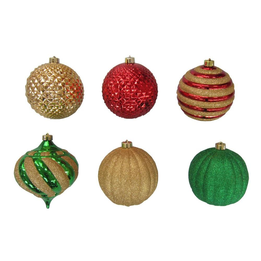 Home Accents Holiday 6 in. Red, Green and Gold Ornament Set (6-Set)