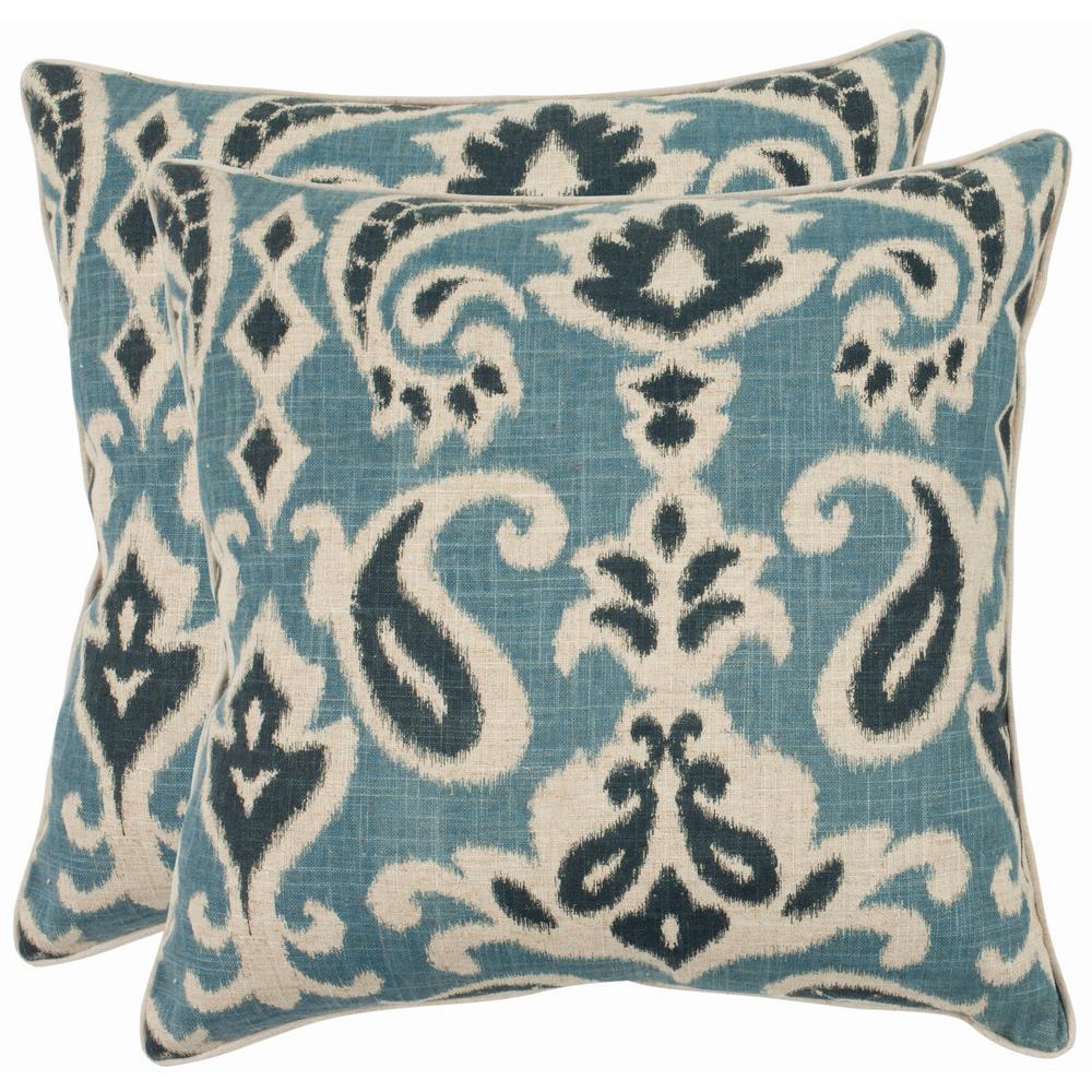 Safavieh Dylan Printed Patterns Pillow (Set of 2), Blue