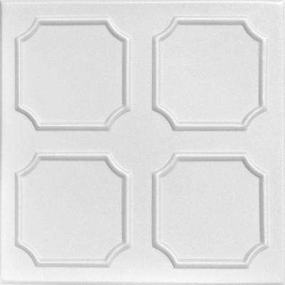 Boston 1.6 ft. x 1.6 ft. Foam Glue-up Ceiling Tile in Plain White (21.6 sq. ft. / case)
