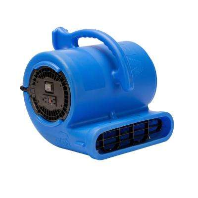 1/3 HP 2530 CFM Air Mover for Water Damage Restoration Carpet Dryer Janitorial Floor Blower Fan, Blue