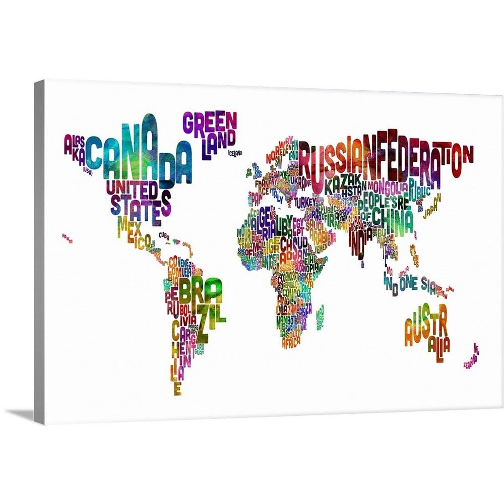 Greatbigcanvas 30 In X 20 In Country Names World Map Multicolor