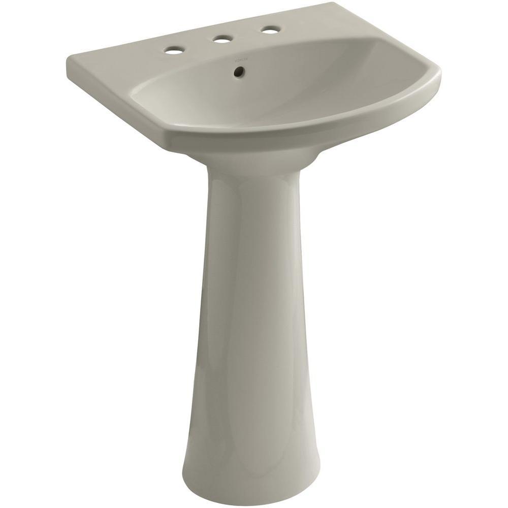 KOHLER Cimarron 8 in. Widespread Vitreous China Pedestal Combo Bathroom Sink in Sandbar with Overflow Drain