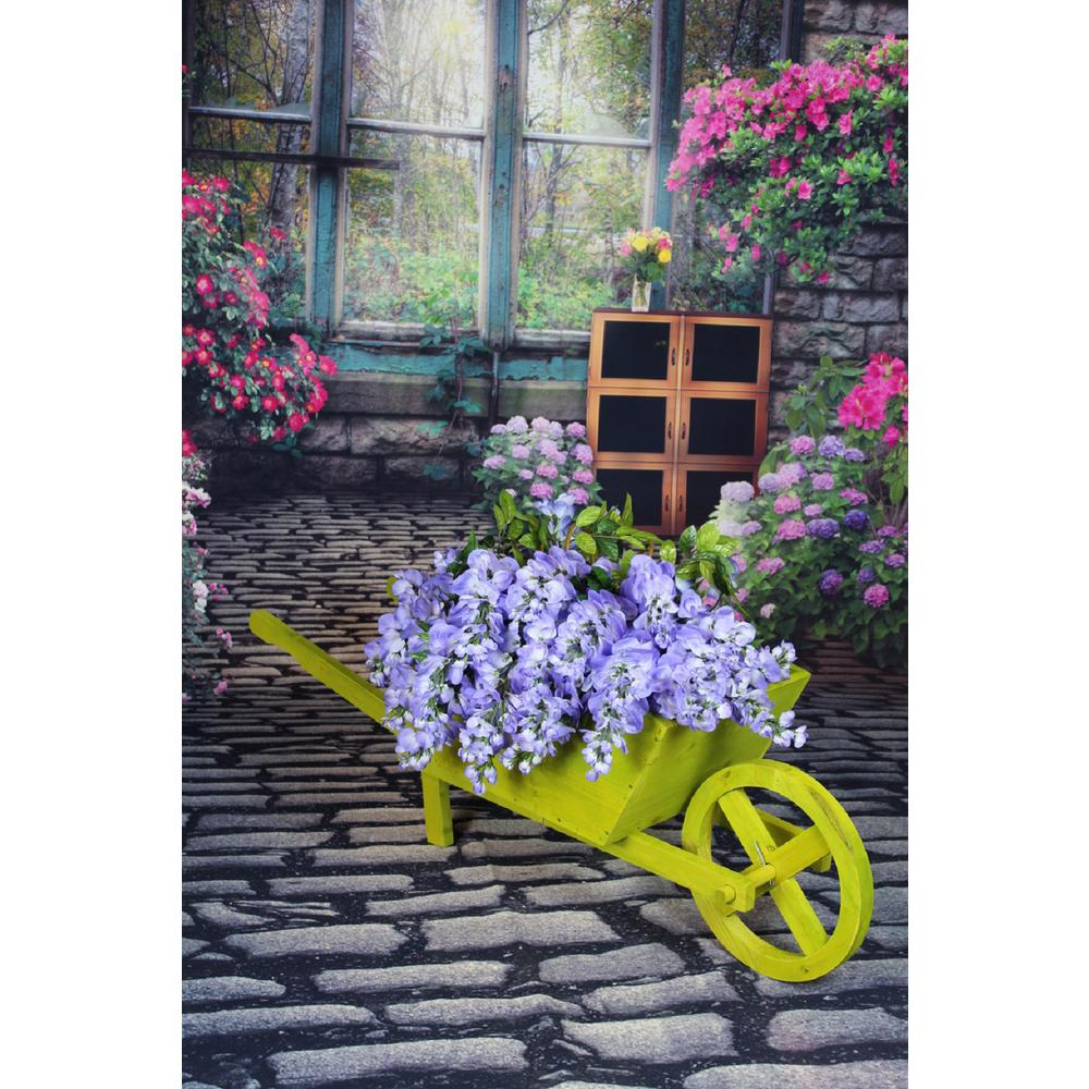 40 in. L x 15.3 in. D x 14.5 in. H Wooden Wheelbarrow Far...