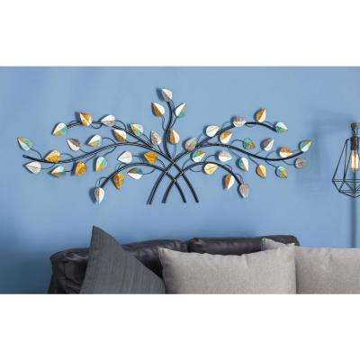 Iron Multi-Colored Leaves and Branches Wall Decor