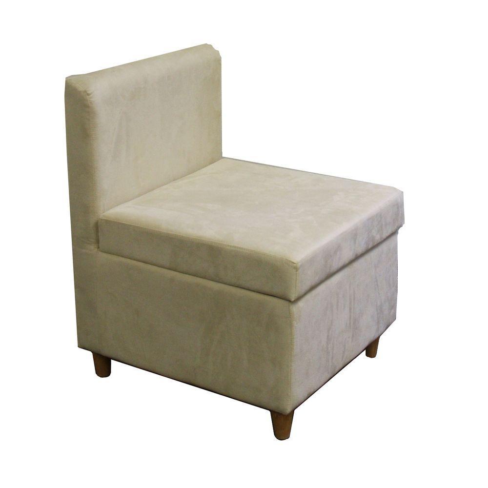 ORE International Cream Polyurethane Storage Accent Chair