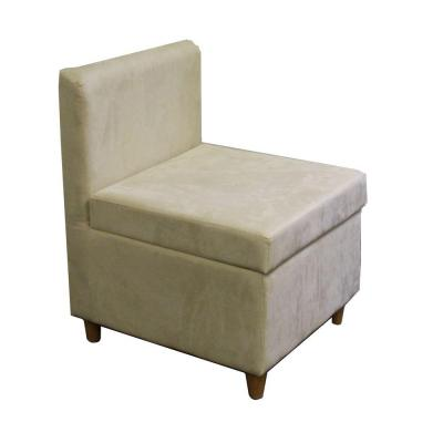 Cream Polyurethane Storage Accent Chair