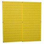 32 in. x 32 in. Overall Size Yellow Metal Pegboard Pack with Two 32 in. x 16 in. Pegboards