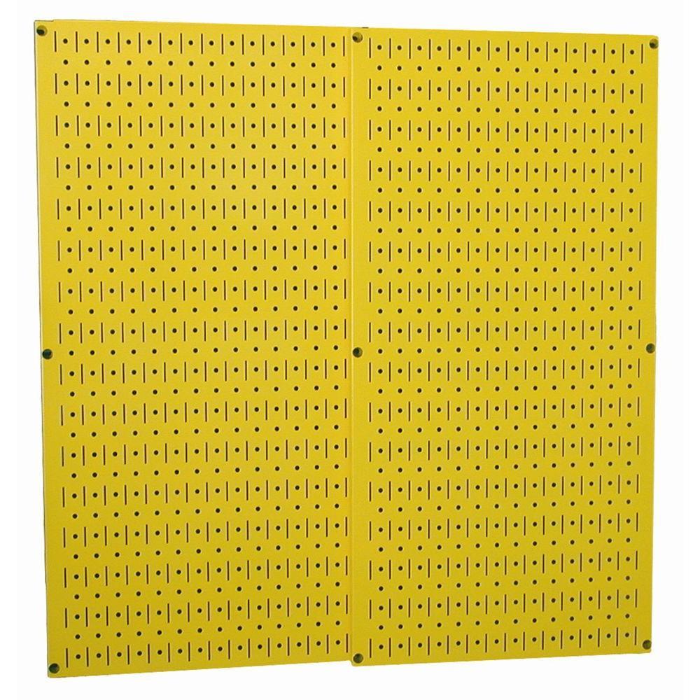 32 in. x 32 in. Overall Size Yellow Metal Pegboard Pack