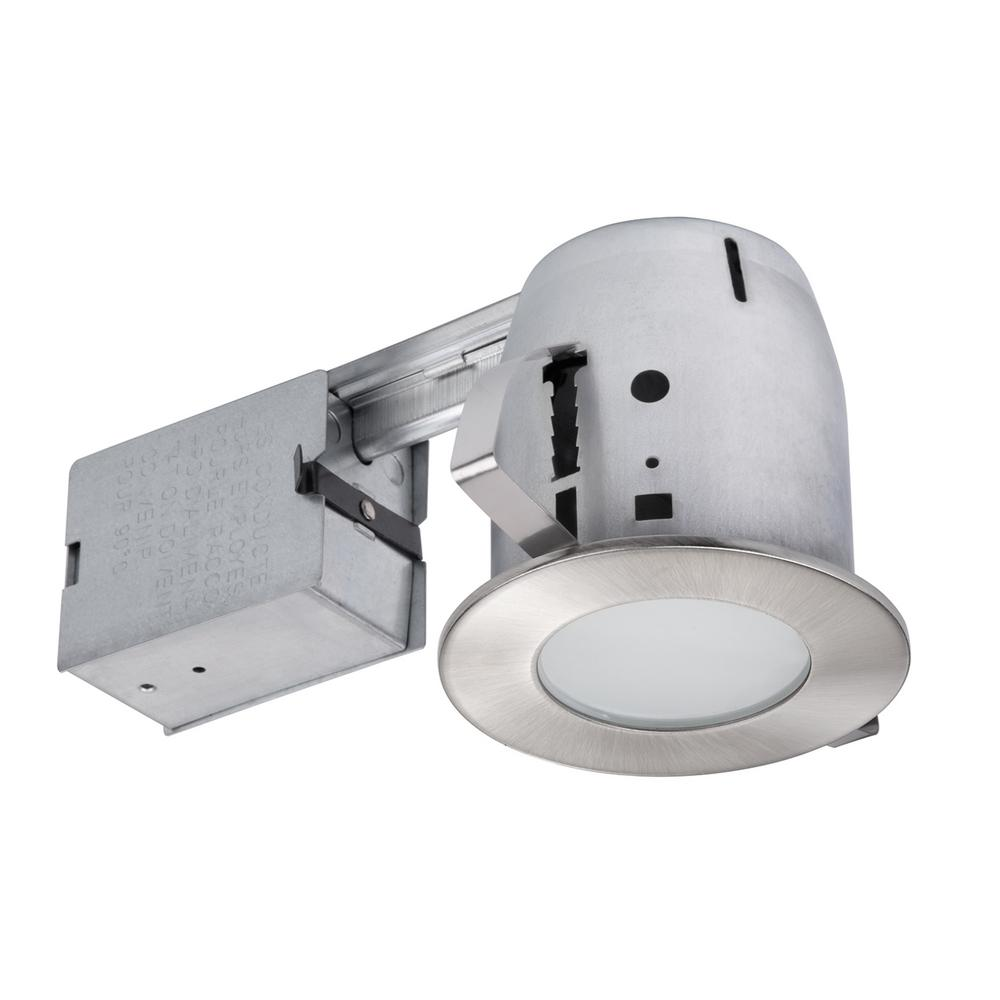 Globe Electric 4 In Brushed Nickel Ic Rated Bathroom Recessed Lighting Kit Led Bulb Included