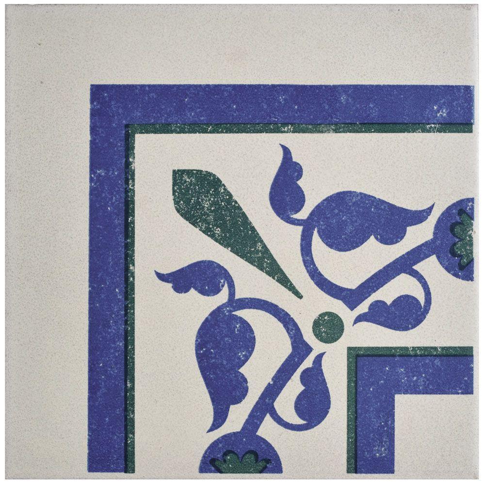 Cementi Quatro Deco Esquina 7 in. x 7 in. Porcelain Floor