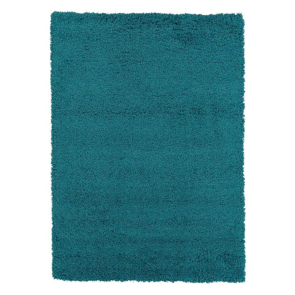 Berrnour Home Plush Solid Shaggy Blue 5 ft. x 7 ft. Shag Area Rug