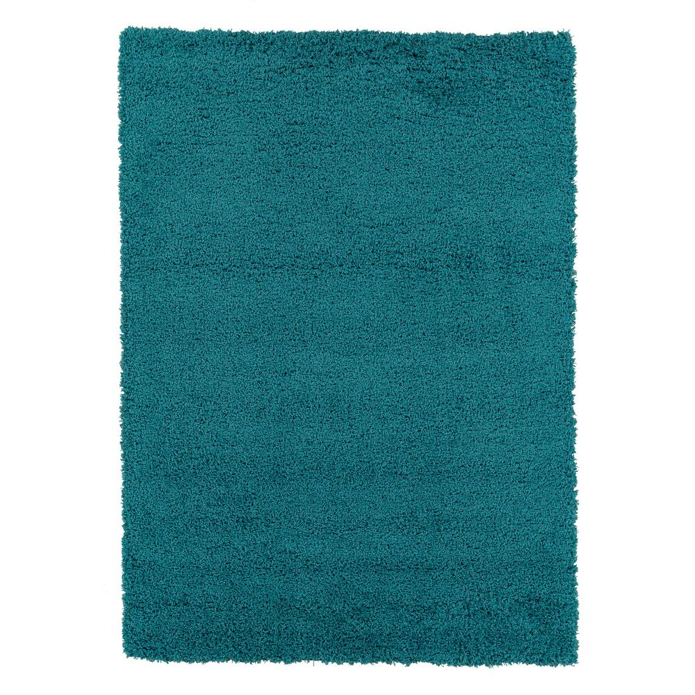 Berrnour Home Plush Solid Shaggy Blue 7 ft. x 9 ft. Shag Area Rug