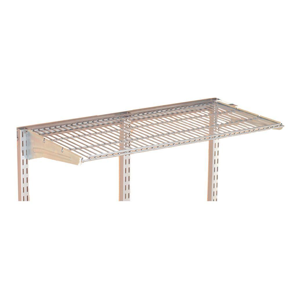 Storability 31 in. W x 5/8 in. H x 14-1/2 in. D Gray Epoxy Coated Steel Wire Shelf with Lock-On Hanging Brackets