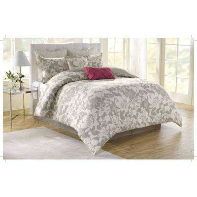 Soho New York Peony 8-Piece Grey Queen Comforter Set