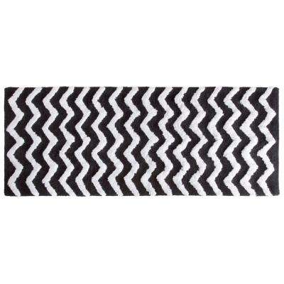 Chevron Black 24 in. x 60 in. Bathroom Mat