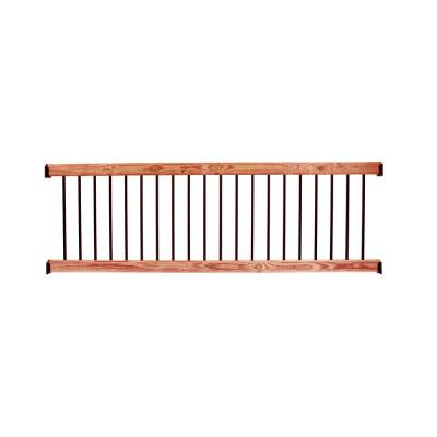 Western Red Cedar 8 ft. Railing Kit with Black Aluminum Balusters