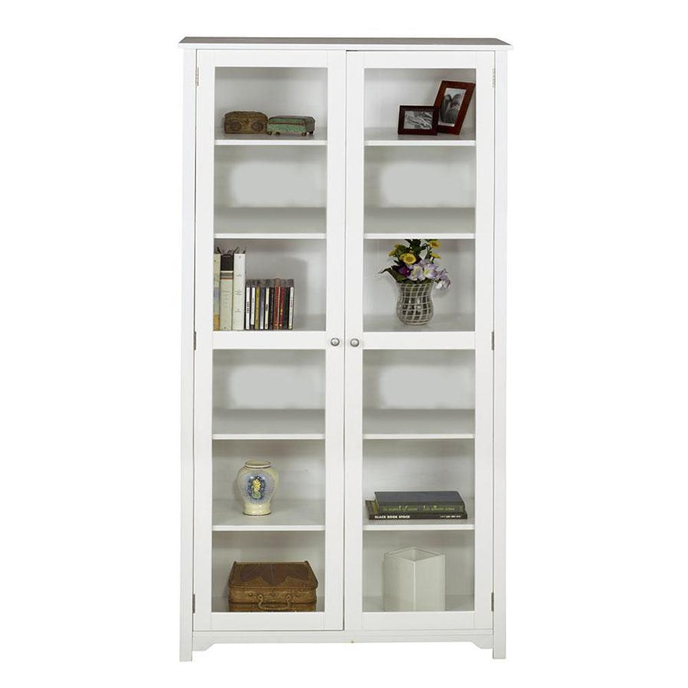Captivating Home Decorators Collection Oxford White Glass Door Bookcase