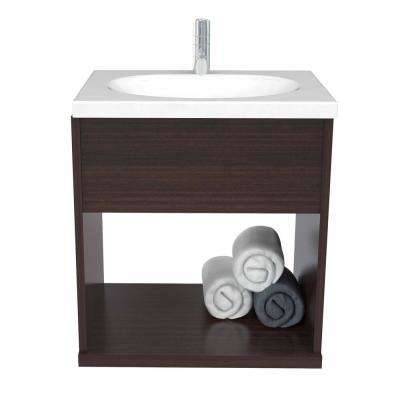 19 in. W x 15 in. D Modern Bathroom Vanity in Espresso with Vanity Top in White and White Basin
