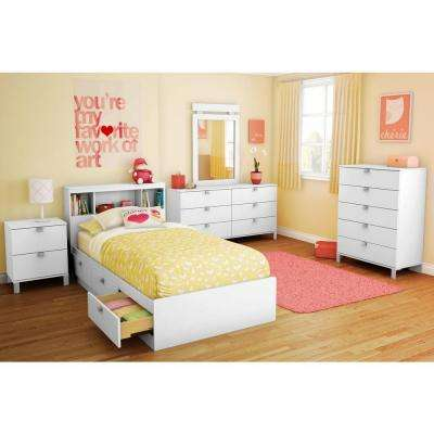 Spark 3-Drawer Twin-Size Storage Bed in Pure White
