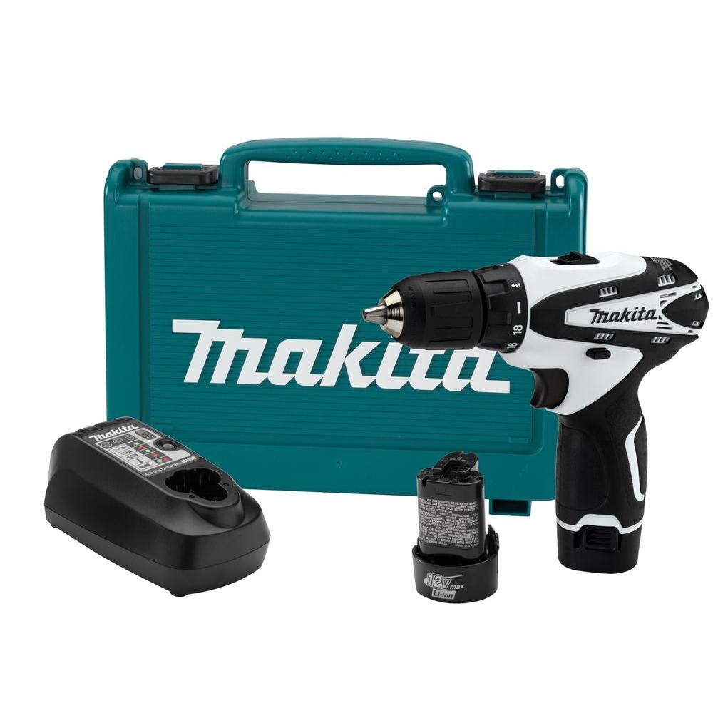 Makita 12-Volt max Lithium-Ion 3/8 in. Cordless Driver-Drill Kit with (2) Batteries (1.3 Ah), Charger, and Hard Case