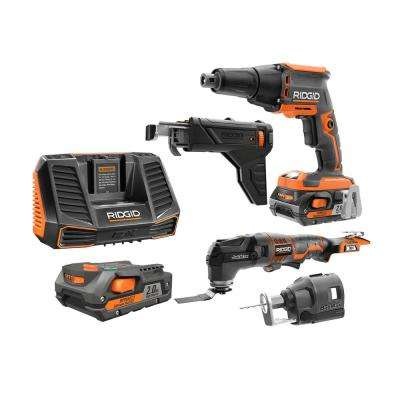 18V Li-Ion Cordless Brushless Drywall Screwdriver w/Jobmax Multitool,Collated Attach., Rotary Cutter,Batteries,Charger