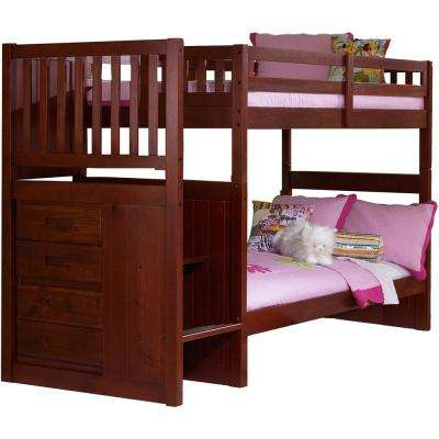 Springside Dark Cherry Twin Over Twin Staircase Bunk Bed