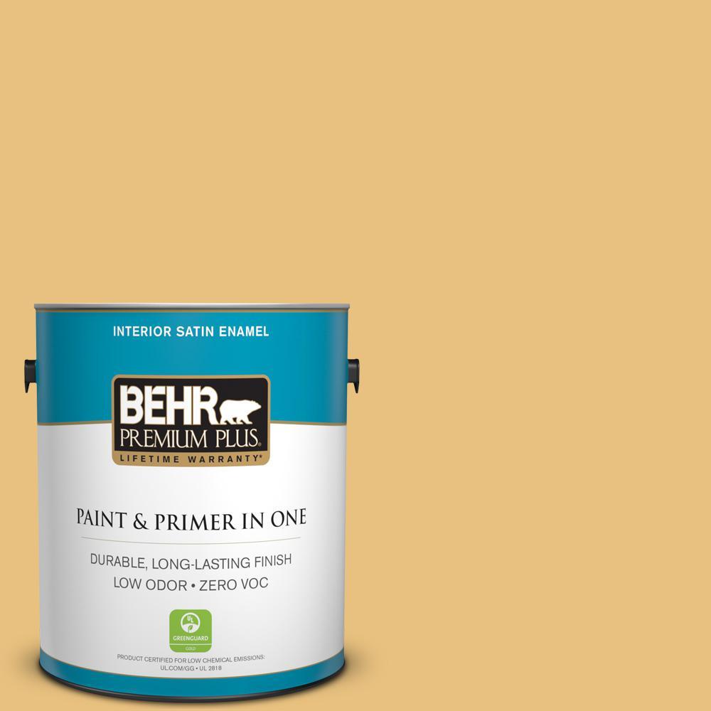 1 gal. #340D-4 Honey Bear Satin Enamel Zero VOC Interior Paint