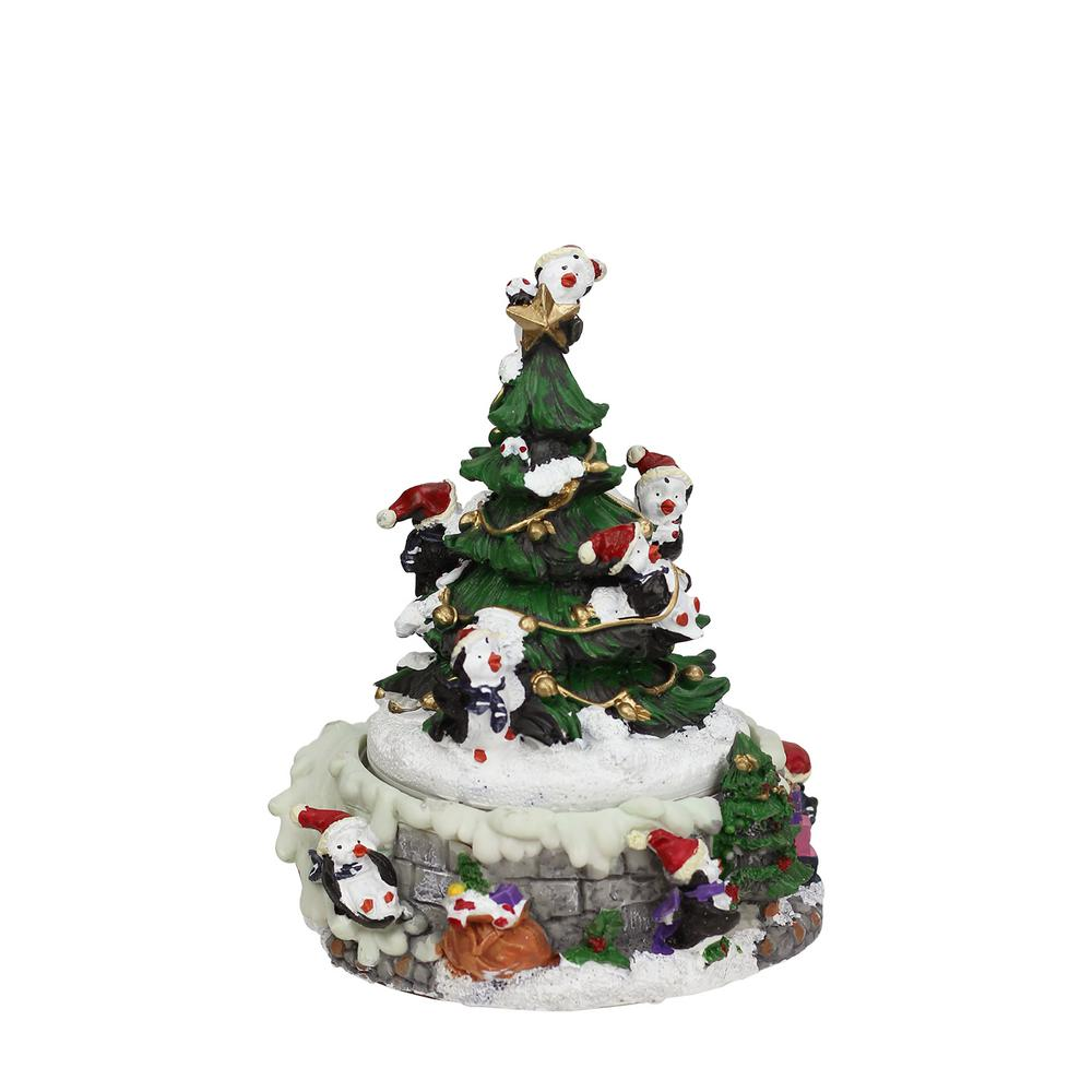 animated penguin and christmas tree winter scene rotating music box - Animated Christmas Scene Decorations