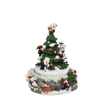6 in. Animated Penguin and Christmas Tree Winter Scene Rotating Music Box