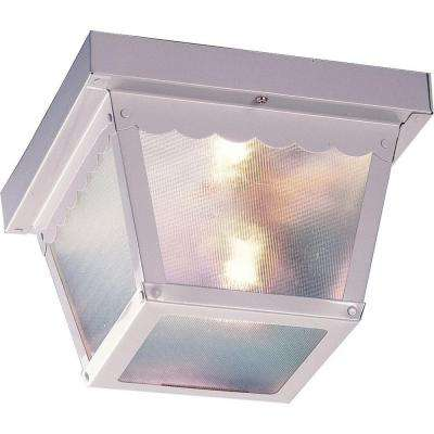 2-Light White Outdoor Ceiling Mount