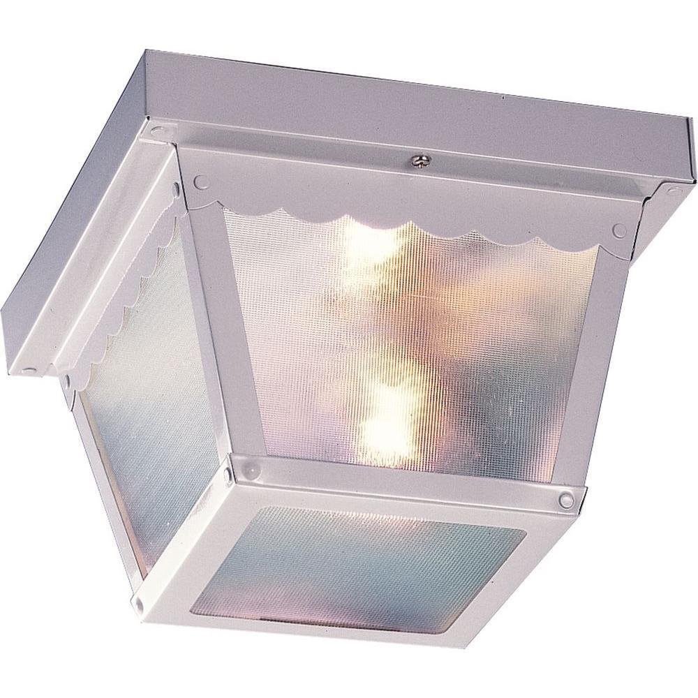 Volume Lighting 2-Light Outdoor Black Flush Mount Ceiling Fixture