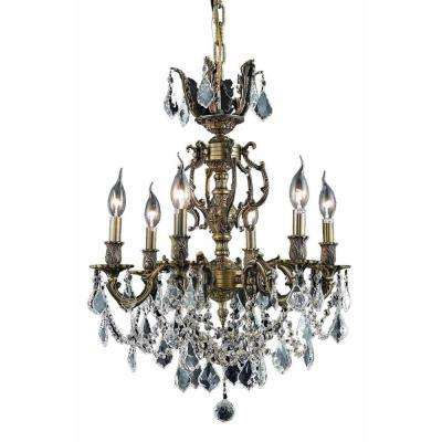 6-Light Antique Bronze Chandelier with Golden Shadow Champagne Crystal