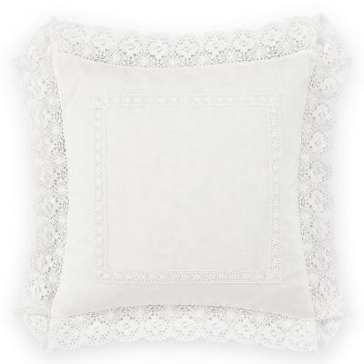 Annabella White Ruffle Solid Polyester 18 in. x 18 in. Throw Pillow