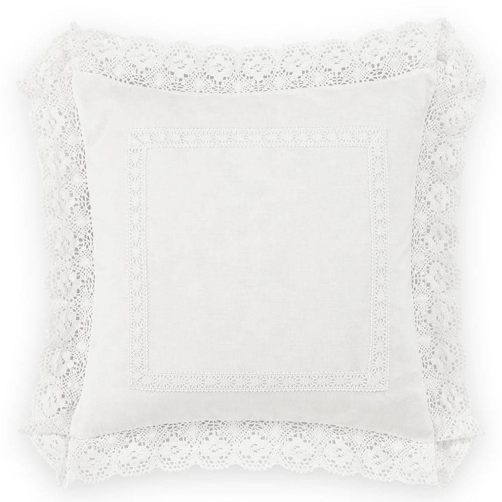 18 in. x 18 in. Annabella White Throw Pillow